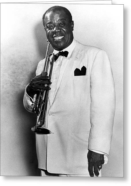 Trumpets Greeting Cards - Louis Armstrong 1900-1971 Greeting Card by Granger