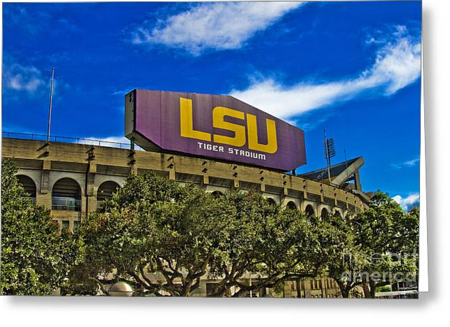 Lsu Tigers Greeting Cards - LSU Tiger Stadium Greeting Card by Scott Pellegrin