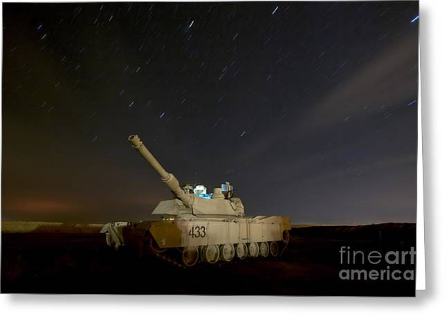 Iraq Greeting Cards - M1 Abrams Tank At Camp Warhorse Greeting Card by Terry Moore