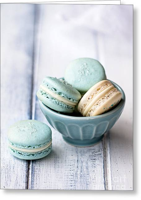 Wooden Bowl Greeting Cards - Macarons Greeting Card by Ruth Black