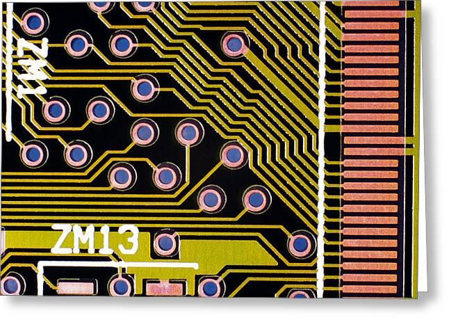 Printed Circuit Board Greeting Cards - Macrophotograph Of A Circuit Board Greeting Card by Dr Jeremy Burgess