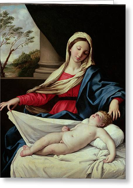 Devotional Greeting Cards - Madonna and Child Greeting Card by Il Sassoferrato