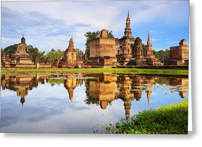 Ayutthaya Greeting Cards - Main buddha Statue in Sukhothai historical park Greeting Card by Anek Suwannaphoom