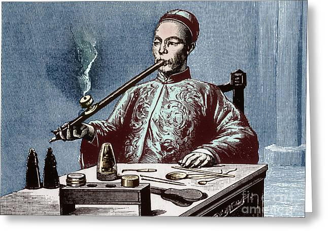 Color Enhanced Greeting Cards - Man Smoking Opium Greeting Card by Science Source
