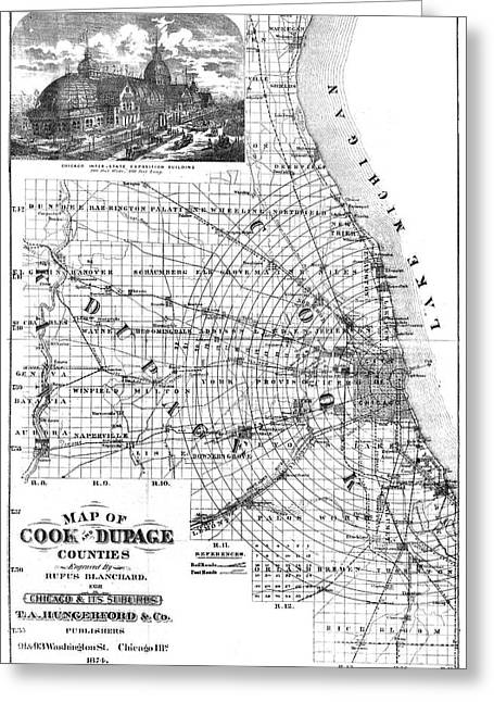 1874 Greeting Cards - Map: Chicago, 1874 Greeting Card by Granger