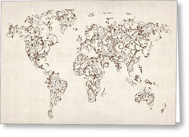 Flourished Greeting Cards - Map of the World Map Floral Swirls Greeting Card by Michael Tompsett