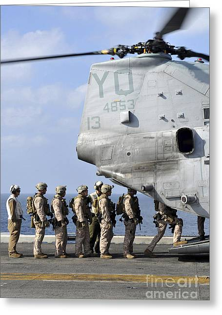 Arabian Knights Greeting Cards - Marines Board A Ch-46e Sea Knight Greeting Card by Stocktrek Images