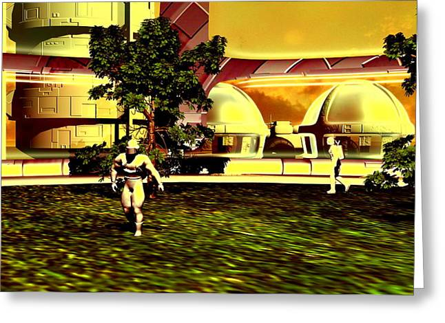 Human Survival Greeting Cards - Mars Base Greeting Card by Christian Darkin