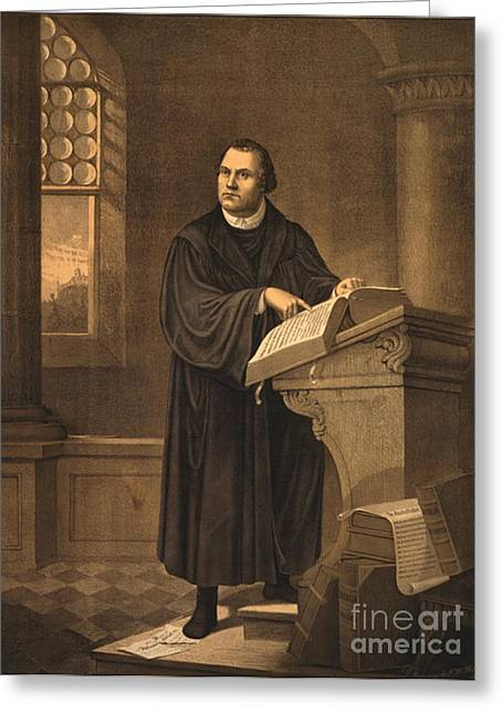 Controversial Greeting Cards - Martin Luther, German Theologian Greeting Card by Photo Researchers