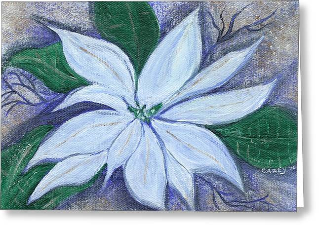 Midnight Poinsettia Greeting Card by Carey Waters
