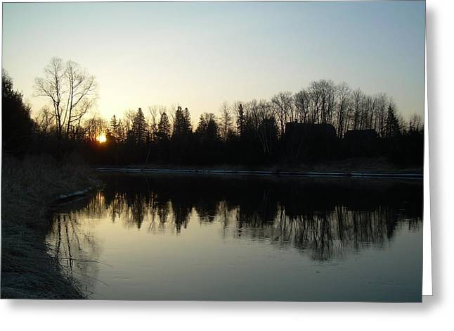Mississippi River Pyrography Greeting Cards - Mississippi river Sunrise reflection Greeting Card by Kent Lorentzen