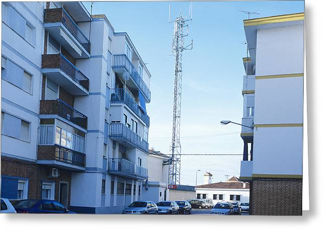Residential Structure Greeting Cards - Mobile Phone Mast Greeting Card by Carlos Dominguez