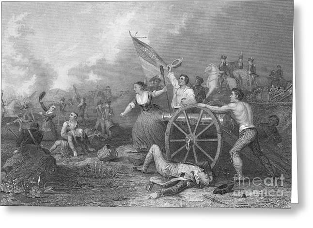 Continental Army Victory Greeting Cards - Molly Pitcher At The Battle Of Monmouth Greeting Card by Photo Researchers