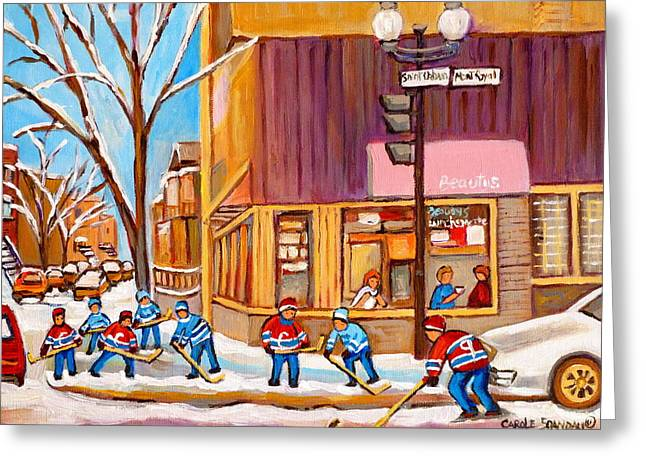 Carole Spandau Art Of Hockey Paintings Greeting Cards - Montreal Paintings Greeting Card by Carole Spandau
