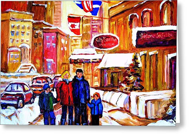 Family Walks Paintings Greeting Cards - Montreal Street In Winter Greeting Card by Carole Spandau