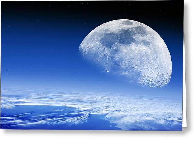 Mare Serenitatis Greeting Cards - Moon Rising Over Earths Horizon Greeting Card by Detlev Van Ravenswaay