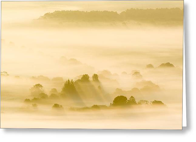 Silhoette Greeting Cards - Morning Mist Over Farmland Greeting Card by Duncan Shaw