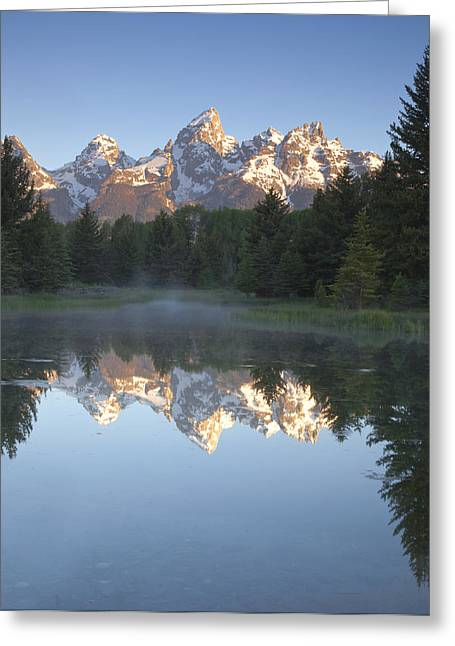 Mountains Greeting Cards - Mountain Reflections Greeting Card by Andrew Soundarajan