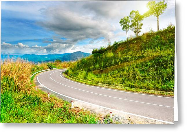 Mountain Road Greeting Cards - Mountain road Greeting Card by MotHaiBaPhoto Prints