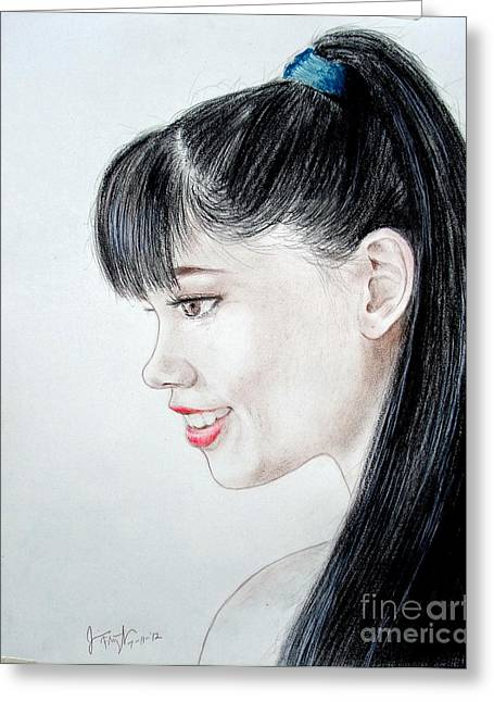 Family Time Drawings Greeting Cards - Myra Molloy winner of Thailand Got Talent  Greeting Card by Jim Fitzpatrick
