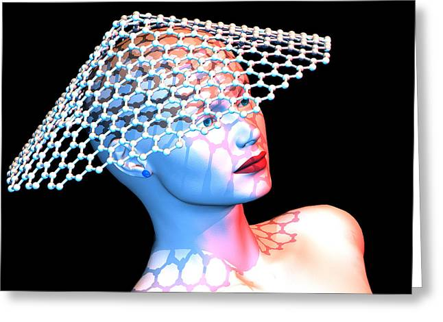 Fullerene Greeting Cards - Nanotube Technology, Conceptual Artwork Greeting Card by Laguna Design