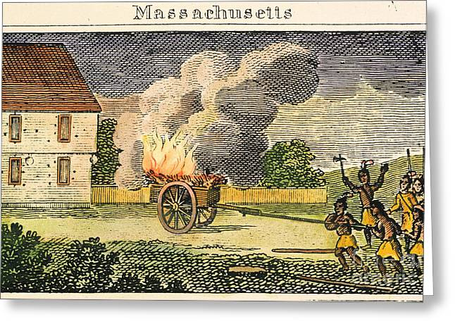 Native American Attack, 1675 Greeting Card by Granger