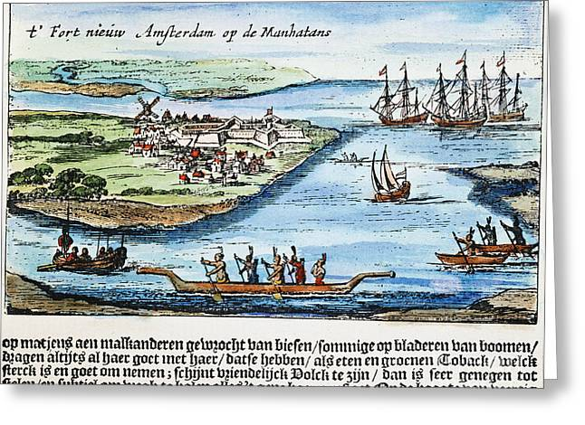 1628 Greeting Cards - New Amsterdam Greeting Card by Granger