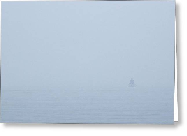 Ledge Photographs Greeting Cards - New London Ledge Light In The Dense Fog Greeting Card by Todd Gipstein