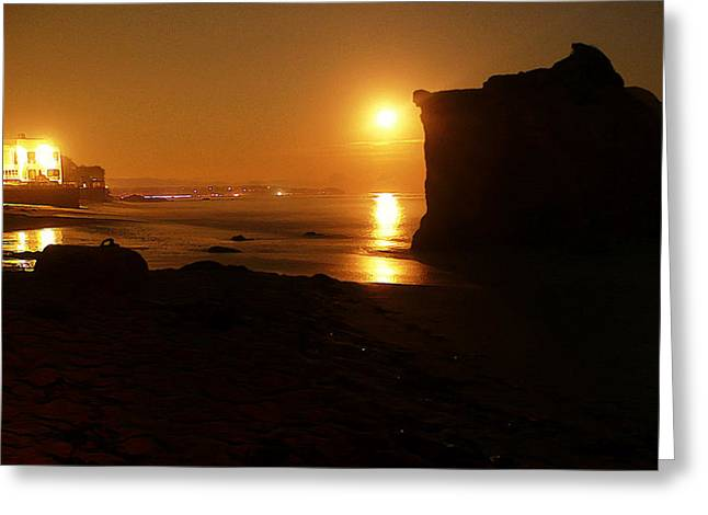 Reflection In Water Digital Greeting Cards - Night Moon Greeting Card by Ron Regalado