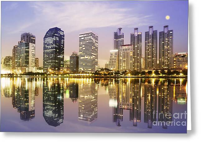 Night Scenes Of City Greeting Card by Setsiri Silapasuwanchai