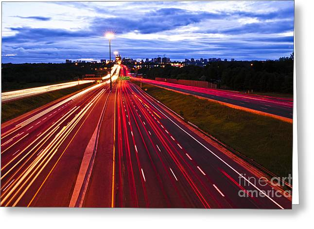 Traffic Greeting Cards - Night traffic Greeting Card by Elena Elisseeva