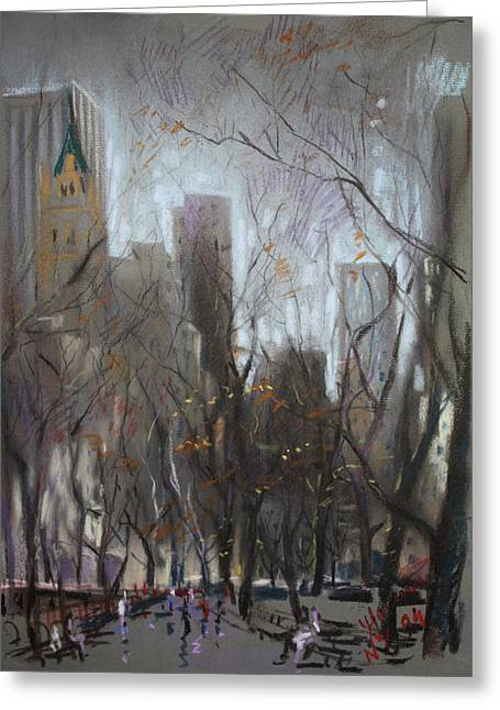 People In Autumn Greeting Cards - NYC Central Park Greeting Card by Ylli Haruni