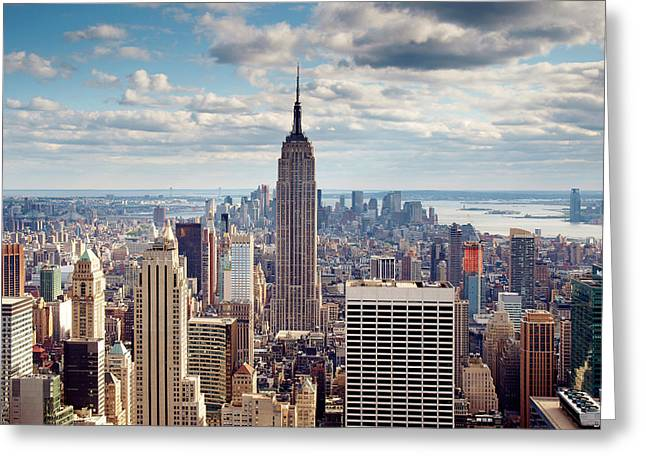 Downtown Greeting Cards - NYC Empire Greeting Card by Nina Papiorek