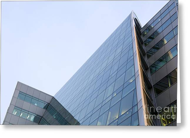 Glass Facade Greeting Cards - Office Building Exterior Greeting Card by Paul Edmondson