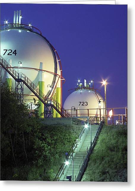 Oil Refinery Storage Tanks Greeting Card by Paul Rapson