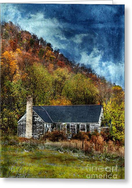 Run Down Greeting Cards - Old Abandoned House in Fall Greeting Card by Jill Battaglia