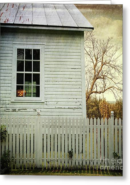 Whitewashed Greeting Cards - Old farm  house window  Greeting Card by Sandra Cunningham
