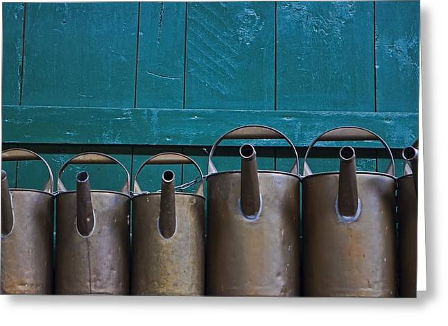 Watering Can Greeting Cards - Old Watering Cans Greeting Card by Joana Kruse