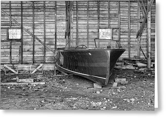 Boat-shed Greeting Cards - Old Wooden Boat Greeting Card by Brian Mollenkopf