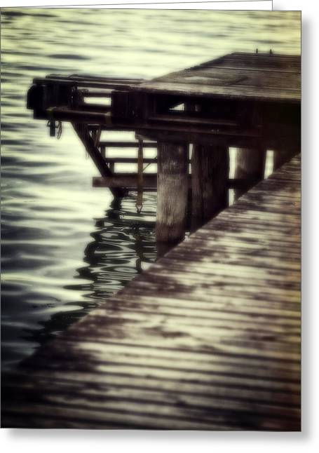 Wooden Stairs Greeting Cards - Old Wooden Pier With Stairs Into The Lake Greeting Card by Joana Kruse