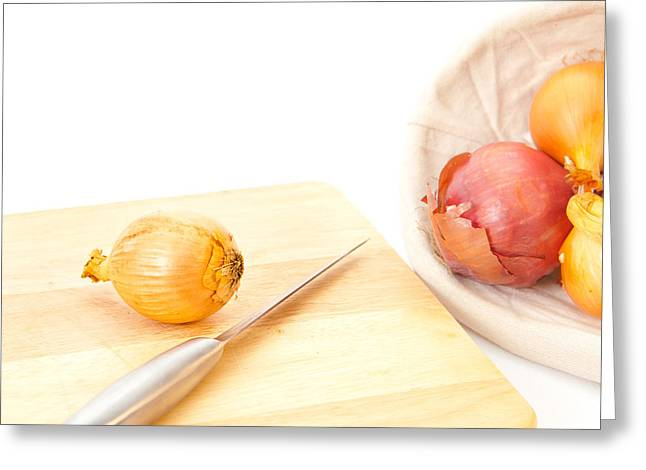 Stainless Steel Photographs Greeting Cards - Onions Greeting Card by Tom Gowanlock