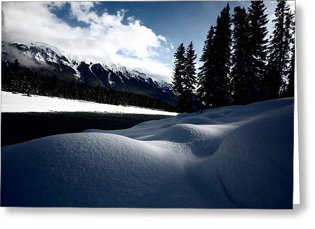 Snow-covered Landscape Photographs Greeting Cards - Open water in winter Greeting Card by Mark Duffy