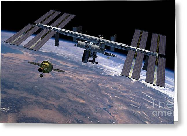 Constellations Greeting Cards - Orion Approaching Iss Greeting Card by Nasa
