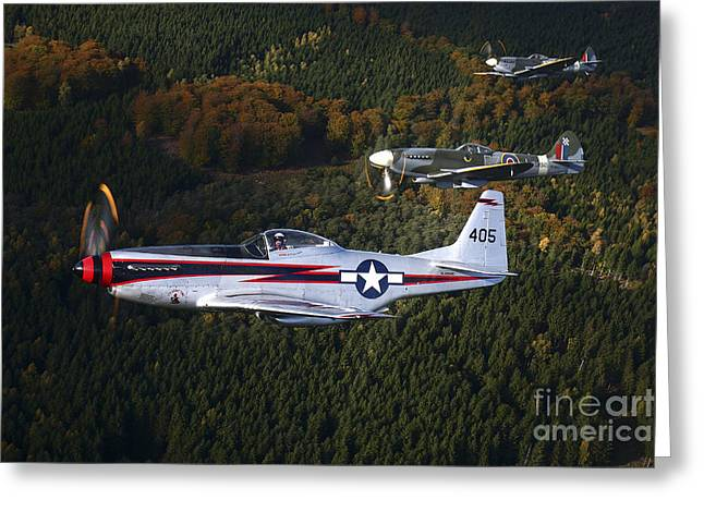 Foreign Military Greeting Cards - P-51 Cavalier Mustang With Supermarine Greeting Card by Daniel Karlsson
