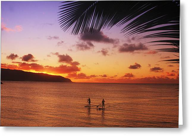 Vince Greeting Cards - Paddlers at Sunset Greeting Card by Vince Cavataio - Printscapes