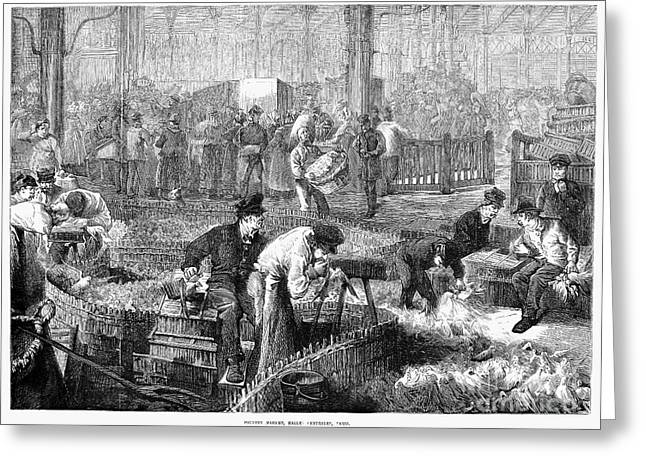 Halle Greeting Cards - Paris: Les Halles, 1870 Greeting Card by Granger