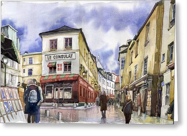 Watercolour Greeting Cards - Paris Montmartre  Greeting Card by Yuriy  Shevchuk