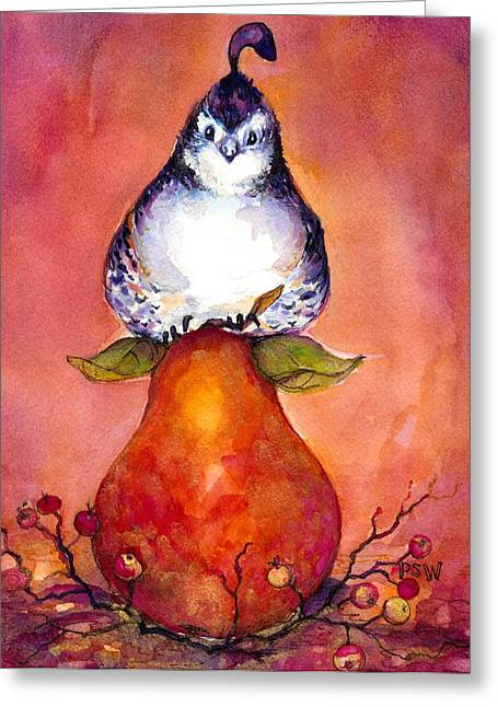 Bosc Greeting Cards - Partridge and Pear Greeting Card by Peggy Wilson
