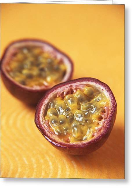 Passiflora Greeting Cards - Passion Fruit Halves Greeting Card by Veronique Leplat
