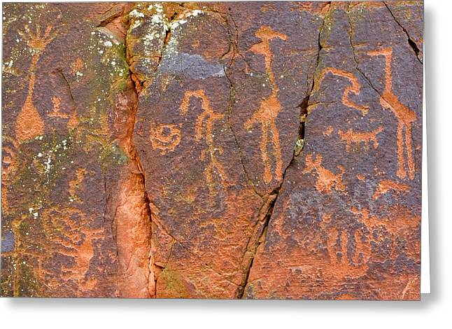 Petroglyphs Believed To Have Been Made Greeting Card by Charles Kogod